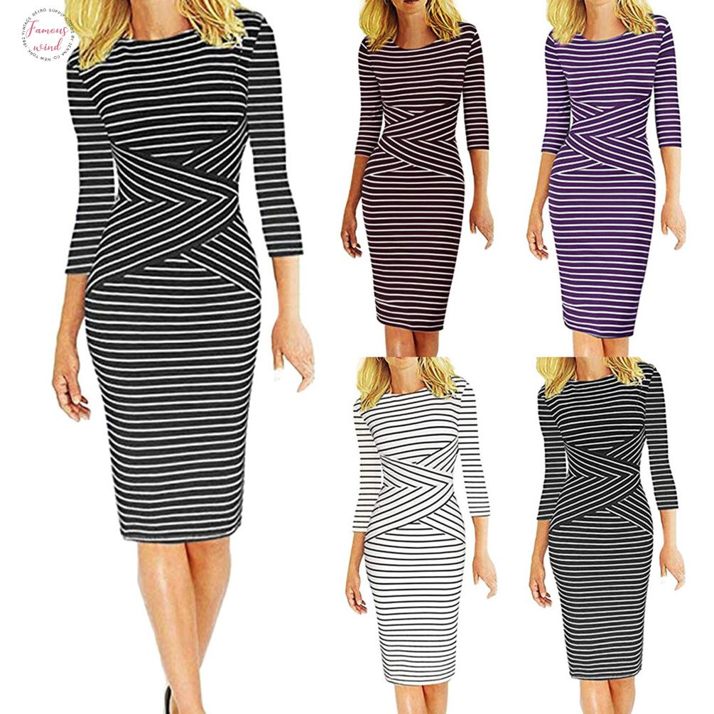 Pencil Dresses Women Sheath Pencil Dress And Flarethree Quarter Sleeve Striped Work Wear Business Cocktail Pencil Dress