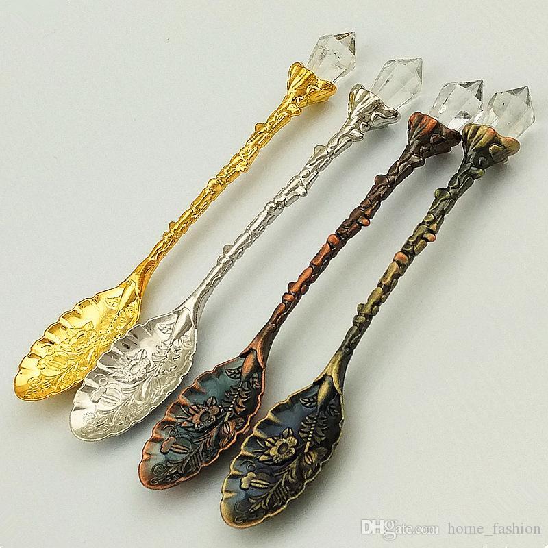 5 Colors Crystal Retro Spoons Pattern Metal Coffee Tea Mixing Spoon Fruit Dessert Cake Cream Spoons Flatware Tablewares