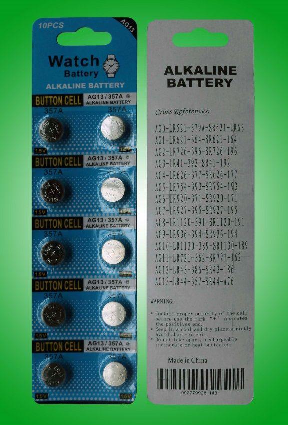 Alta qualidade 100% fresco AG13 LR44 A76 L1154 357 SR44 1.5 V Alcalina Botão Da Moeda Baterias para Relógios Brinquedos CONDUZIU as luzes presentes de natal
