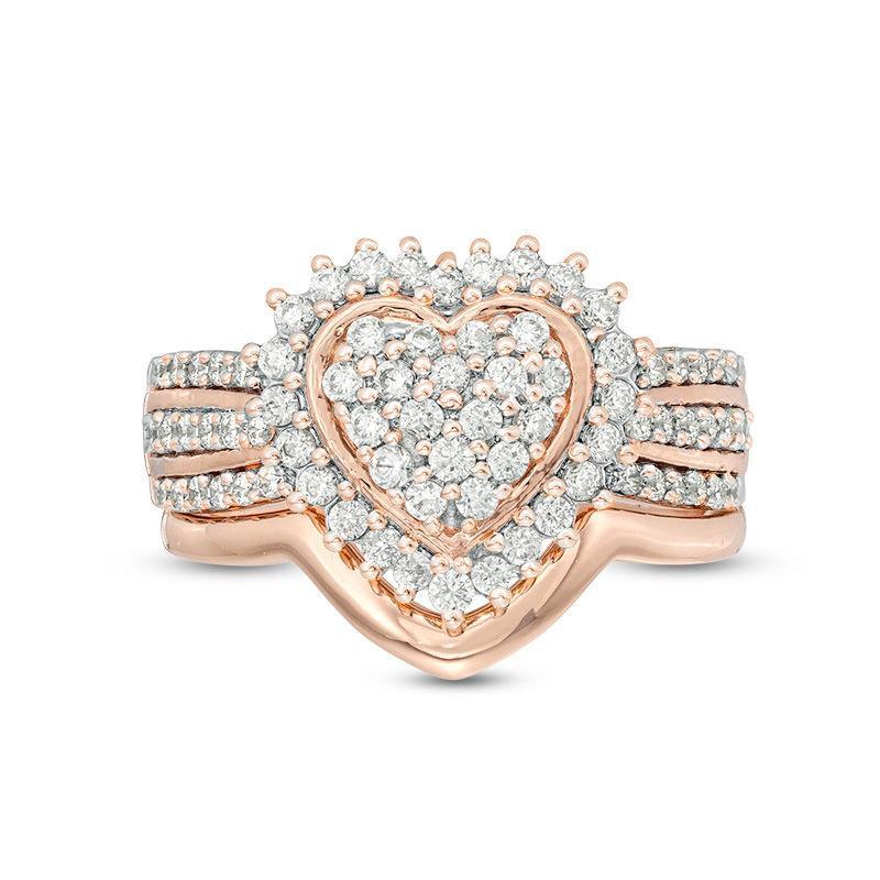Romantico a forma di cuore anello di nozze insieme dei monili di cristalli di zircone Anelli Love Promise anello di fidanzamento nuziale Moda Donna