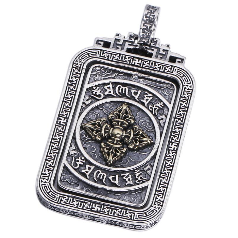 925 sterling silver jewelry square six-word mantra religous pendant (FGL)