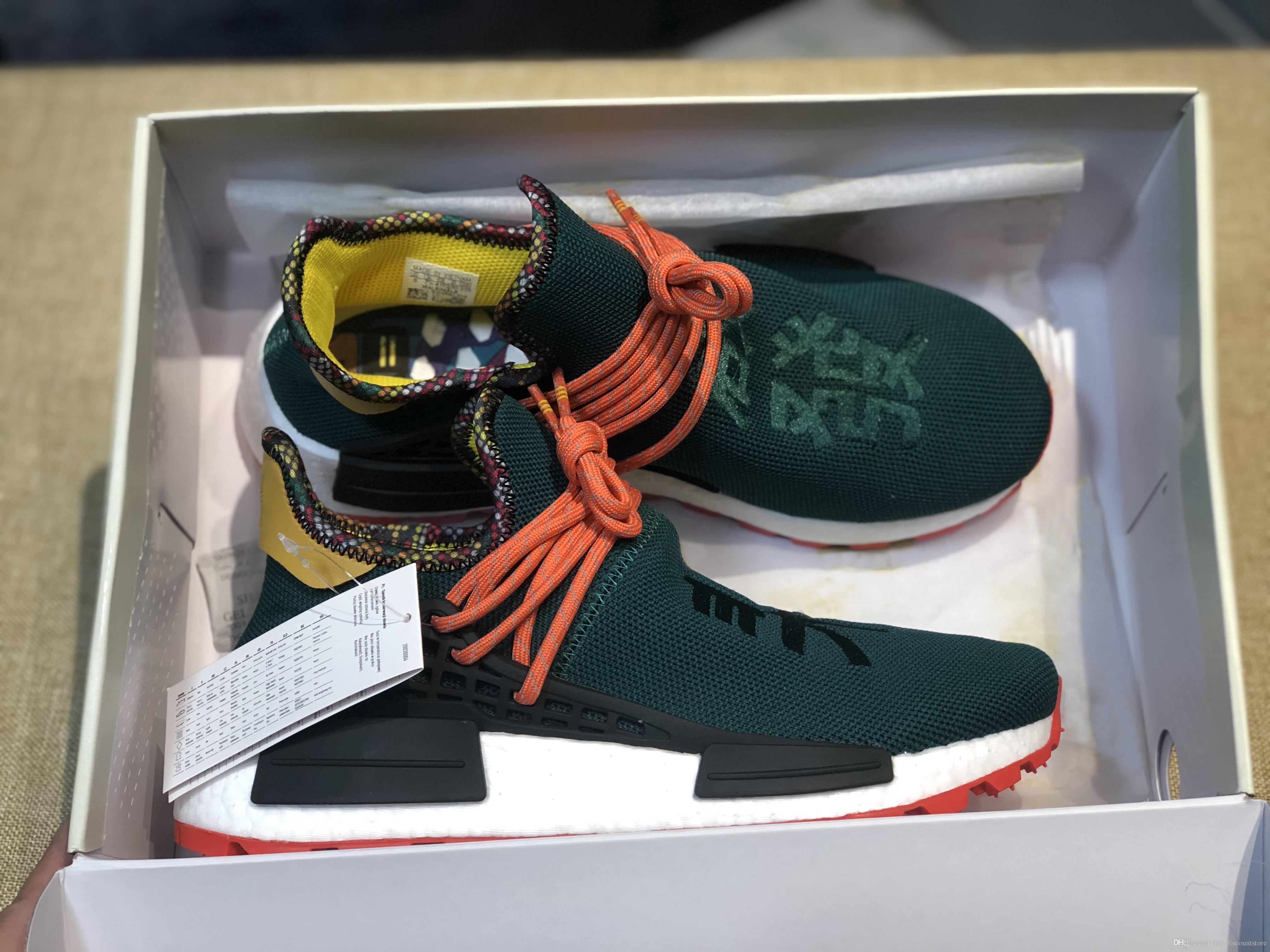 Calidad superior 2019 Humanrace Hu Inspiration Pack zapatillas reales basf inferior calidad superior Pharrell Williams entrenador Zapatillas con caja 36-45