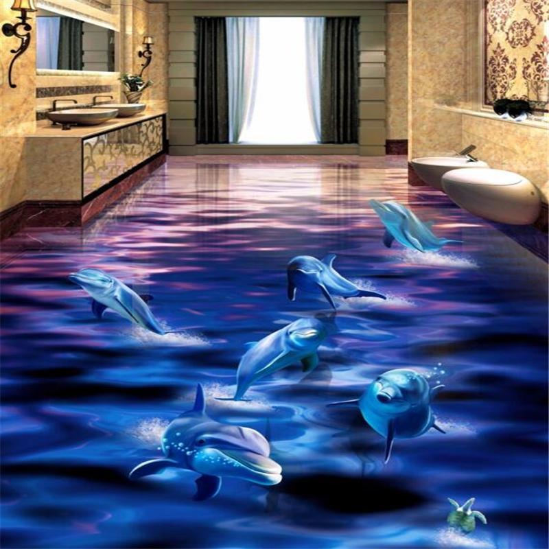 Plancher personnalisé 3d dauphins muraux se précipiter hors de l'eau océan monde 3D salle de bains salon carrelage papel de parede