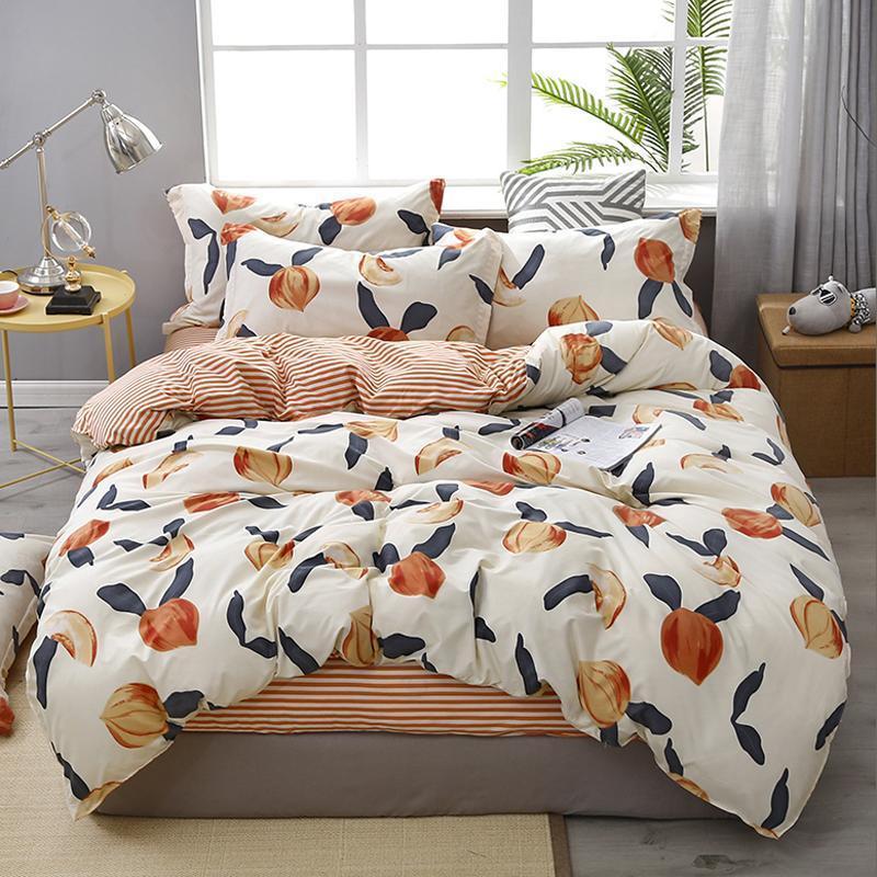 60reactive şeftali ev yatak seti yastık kılıfı nevresim Yatak 3/4 adet kraliçe kral tam ikiz T200409 düz levha yatak örtüsü set baskı