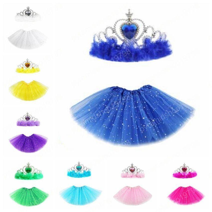 Ballet Fancy Pettiskirt filles Tutu Jupes avec Crown Princess Etoile Glitter Sequin étape Dancewear Costume d'été Tulle Mini robes