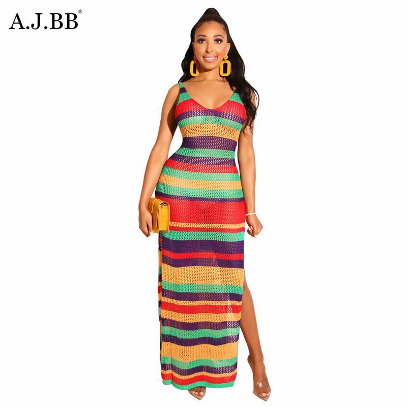 Avrupa gündelik gevşek çok renkli baskı elbise moda ince U-boyun sapan kolsuz kadın uzun etek