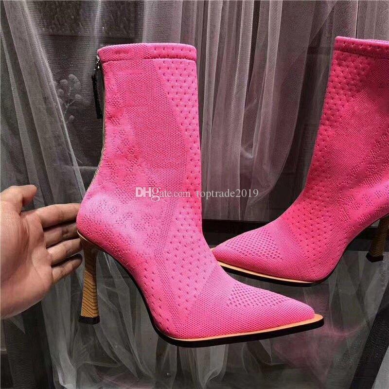 2020 gestrickte Socken Frauen Booties höhen Stiefel Sexy Schuhe mit Kasten große Größe 6colors Damen Winter-Frauen Stiefel