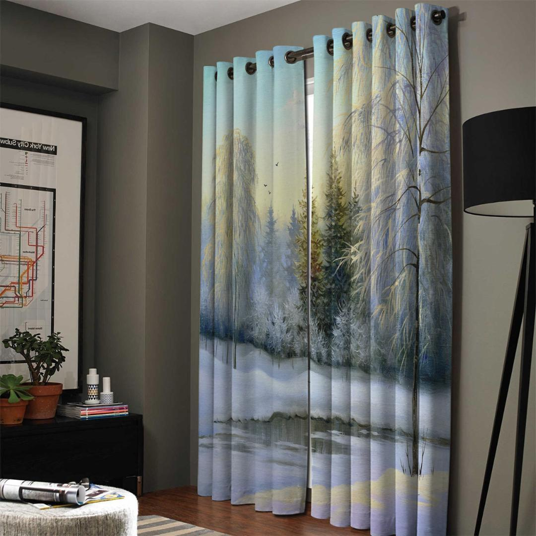 2019 Winter Snow Lake Woods Jungle Birds Beautiful Cloud Blackout Window Curtains Living Room Curtain Rod Kitchen Drapes Fabric From Bright689 34 77