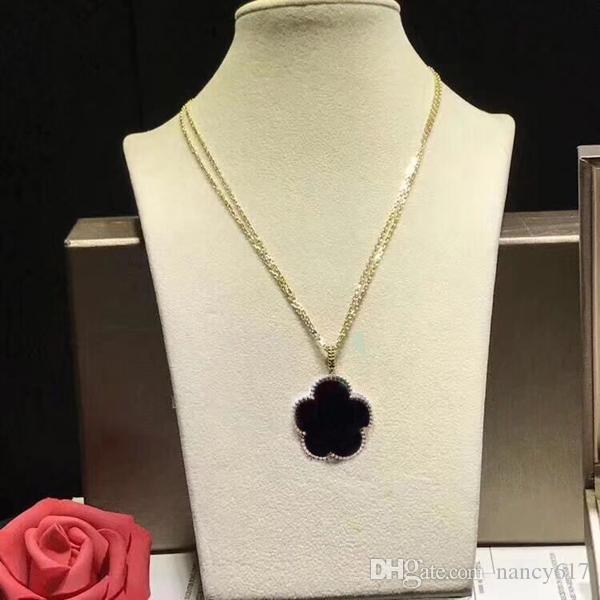 las mujeres de la joyería de lujo de diseño clásico de la moda collar de cadena de trébol de cuatro hojas joyas de las damas de lujo de acero inoxidable colgante de concha de oro