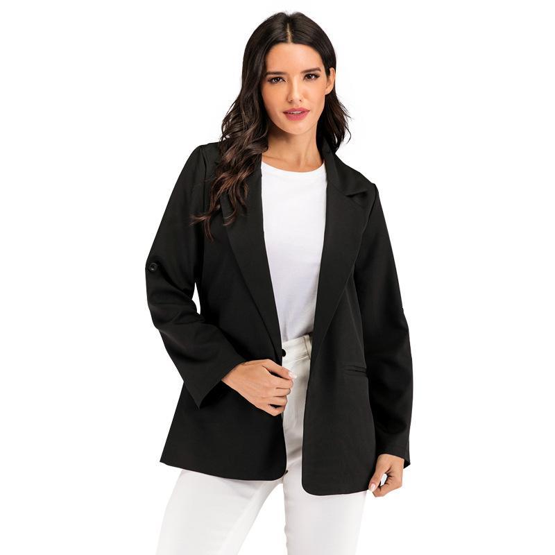 Blazer preto das mulheres de Inverno Blzaer Coats Conjuntos Escritório Blazers damasco senhoras casuaml blazer feminino turn-down collar