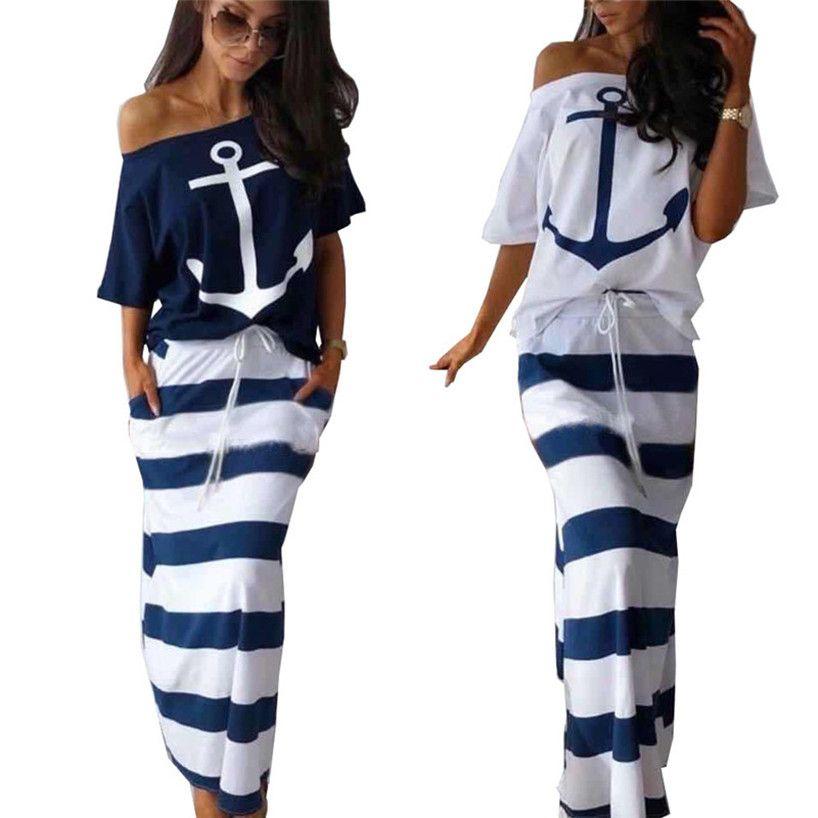 Ropa Casual mujer ancla de rayas 2 Pieza vestidos cortos de la manga T-shirts + Traje Faldas S-2XL Pullover + bordea de largo verano