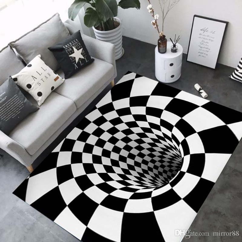 3D Teppiche Luxus Geometrie Optische Täuschung Teppiche Badezimmer Wohnzimmer Boden Rutschfeste Matte Schlafzimmer Nacht Teppich Dekor