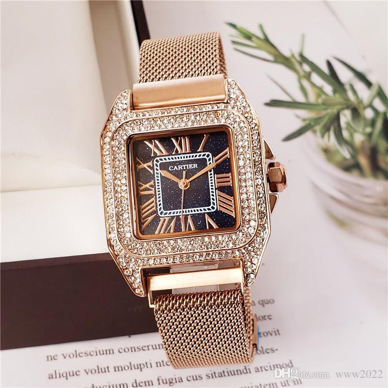 Strass 32mm quadratische Quarzstahlband römische Ziffern Luxus Frauen Designer-Uhr Direct-Mail-Damen Gold Uhrgeschenk Damenuhr