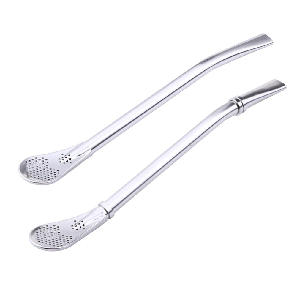 Stainless Steel Drinking Straw Spoon Tea Filter Yerba Mate Tea Straws Bombilla Gourd Reusable Tea Tools Bar Accessories C18112301