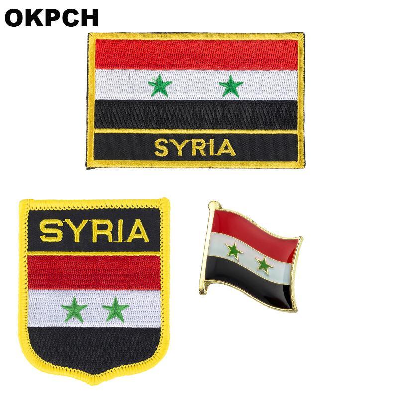 Suriye bayrağı yama rozeti 3 adet bir Set Giyim DIY Dekorasyon için PT0196-3 Yamalar