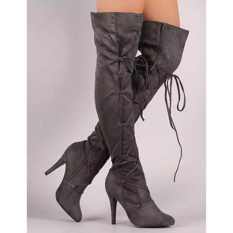 Diz yüksek topuklu kadın büyüklüğü 34-43 üzerinde kadın Nubuk Deri seksi soba borusu uzun çizmeler için sıcak satış moda uzun çizmeler