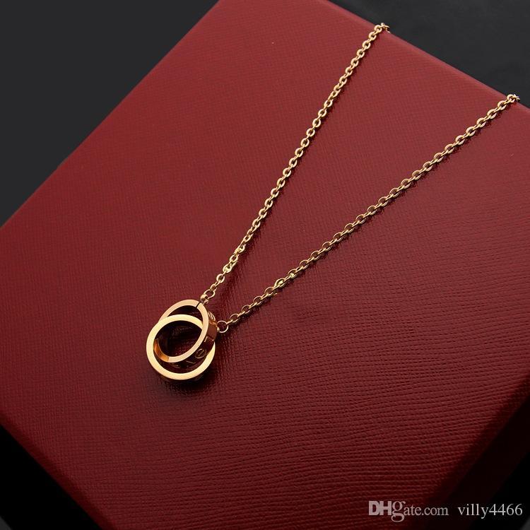 Kadınlar için moda lüks 2019 yepyeni tasarımcı büyük çift halka 18K altın Titanyum çelik çekicilik kolye takı kolye