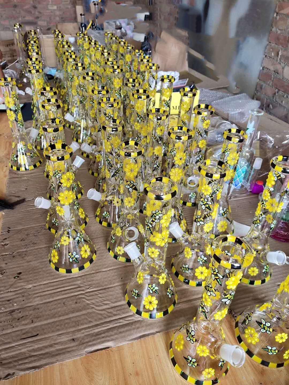 10,5 pouces forme Bee Pipes eau Rig droite Dab et Perc 14 mm Rigs huile bécher en verre Joint bol bong