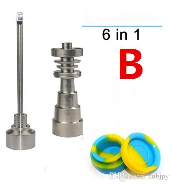 100% prego GR2 Atacado titânio 6 em 1 domeless Titanium Nails com Titanium Carb Cap Set Point Tip / Flat Tip TiDabber Wholesael pric