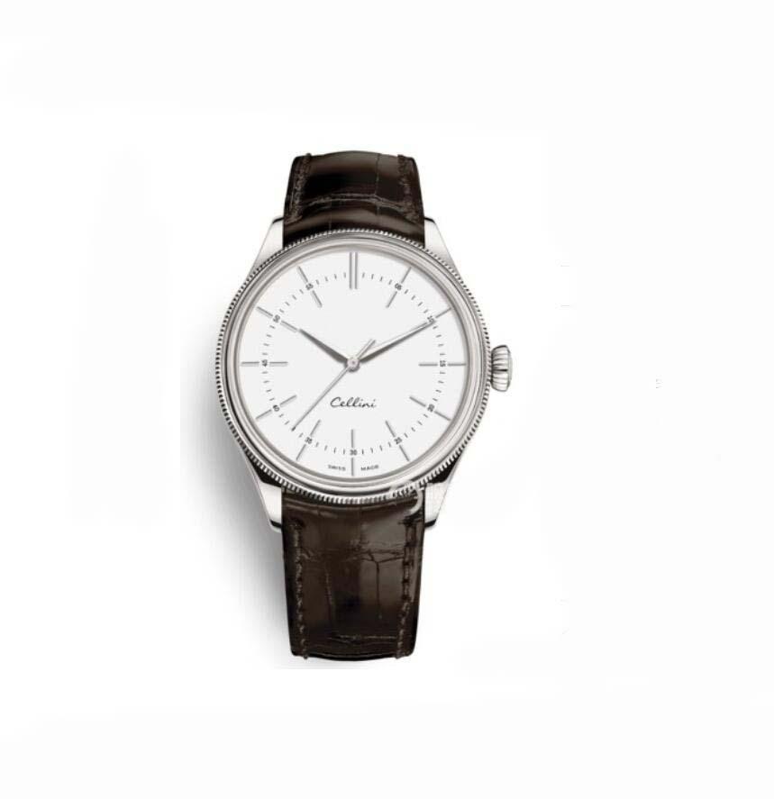 حار للرجال ساعات سيليني 50505 سلسلة فضة الساعة الميكانيكية براون الجلود الشريط الأبيض الهاتفي الرجال التلقائي الساعات ذكر المعصم