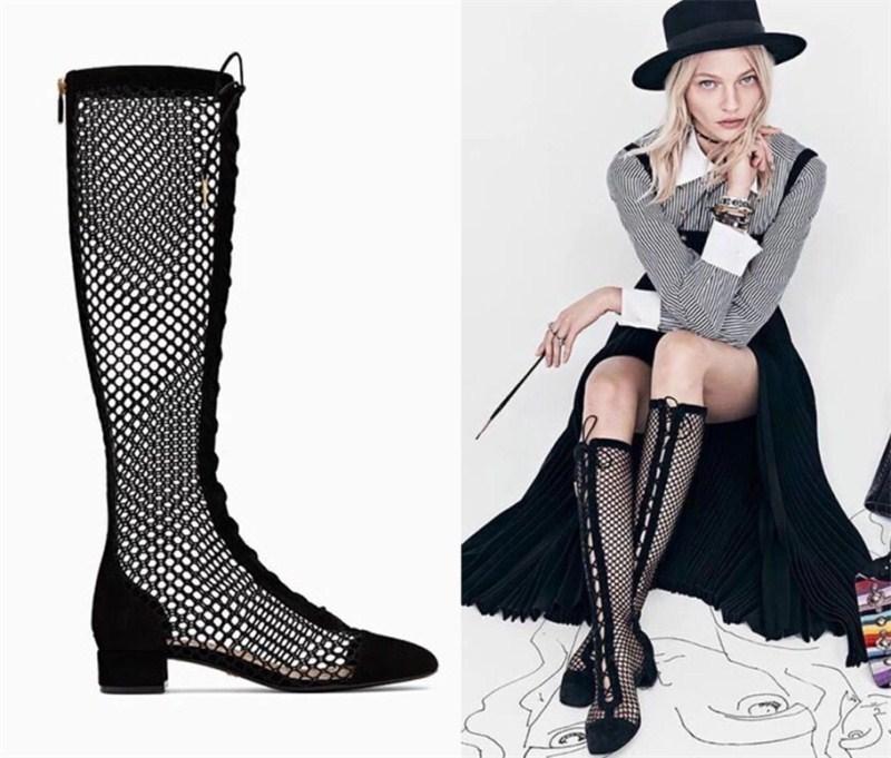 Pretty2019 cool avec des bottes évidées sandales femme été long tube de démarrage bottes bandage chaussure rome 40 code