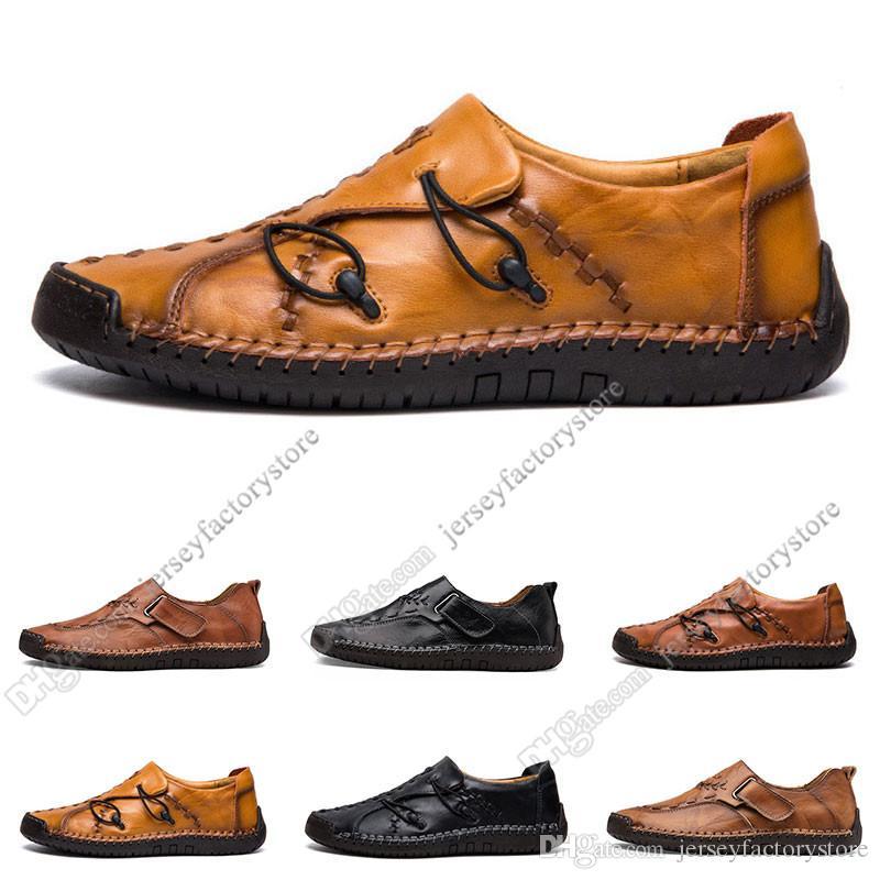 nouvelles chaussures pour hommes occasionnels couture main pied Angleterre chaussures ensemble pois cuir chaussures hommes bas de grande taille 38-48 Vingt-trois