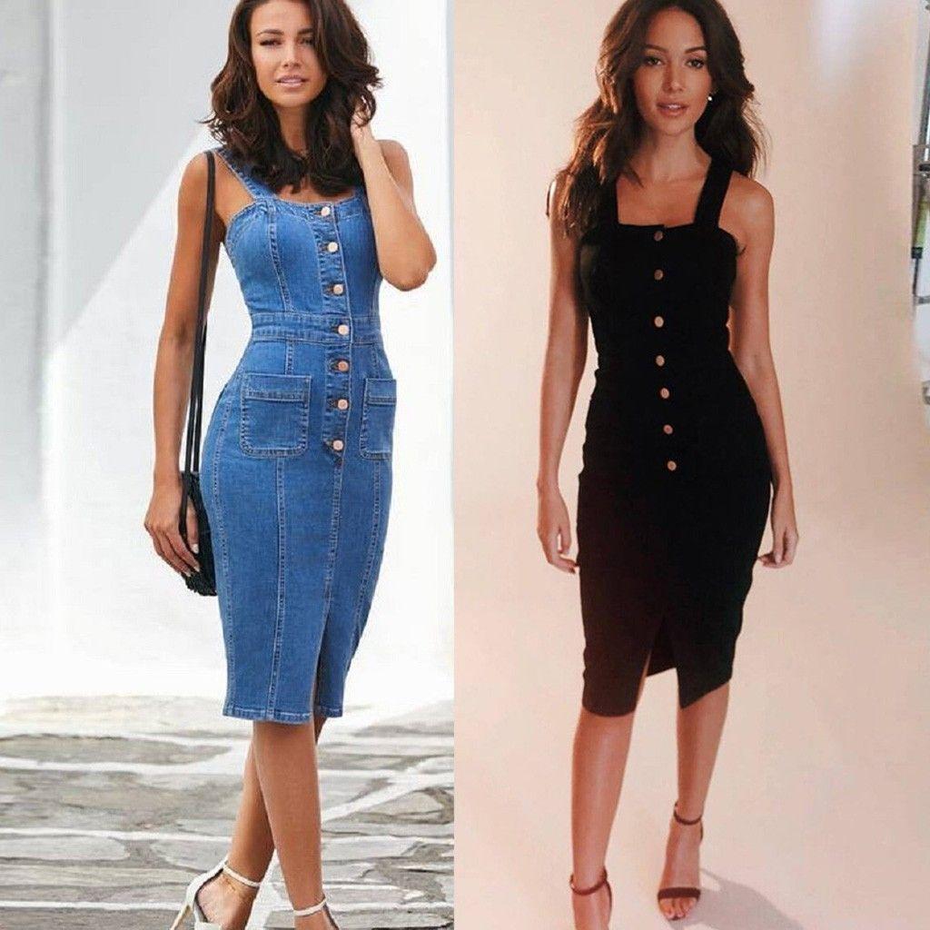 Yaz seksi elbise kadın giysileri 2020 Denim Kolsuz elbise kadın Slim Fit Düğme Aşağı Mini Elbise vestidos feminino