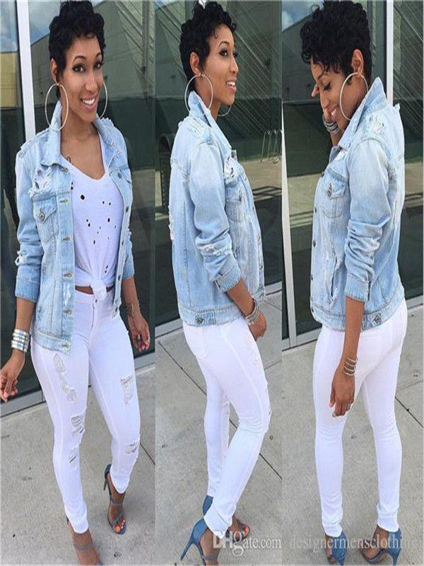 Femmes Pocket Jeans Vestes trou Plus Size manches longues Mode Femme Manteau Casual Printemps Femmes Hauts Outwear