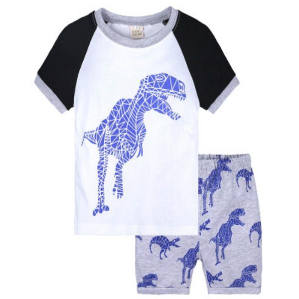 2020 Детская Мода Пижамы Мальчики Девочки Лето Повседневная Спальная Одежда Дети Тенденция Животных Полосатый Печатный Мультфильм Две Части Пижамы Наборы
