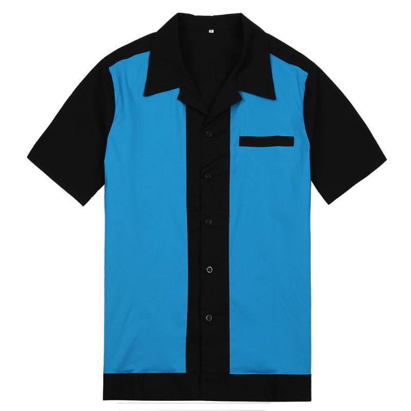 Erkekler Bowling Gömlek Elbise Rockabilly Kısa Kollu Beyaz Kırmızı Mavi Orta Yüzyıl Vintage Erkek Gömlek camisa Masculina Inspired