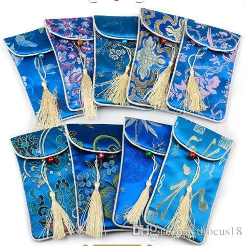 17x9 سنتيمتر الحرير غطاء الهاتف الخليوي حقيبة المحمول حالة الحقيبة هدية حقيبة الصينية التقليدية مختلط لون الشحن المجاني