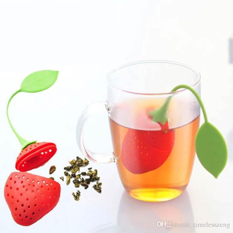Silicone Strawberry Tea Infuser Cute Fruit Design Tea Strainer Loose Leaf Herbal Filter Tools Strainer Tea Bag