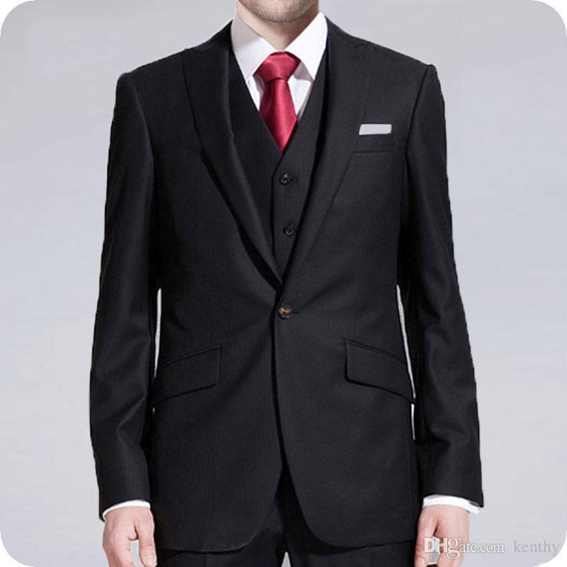 Preto 2019 Homens Ternos repicado lapela do noivo do casamento do smoking personalizado Groomsmen Suit Man Blazer 3piece mais recente projeto Partido Evening Homme Costume
