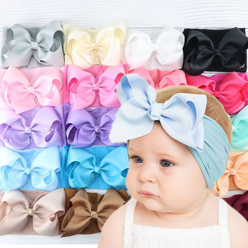 5 pulgadas venda de los bebés ancho de nylon de alta elasticidad arcos del pelo de la venda suave del Bowknot Hairband Menina Turbante color sólido Accesorios para el cabello