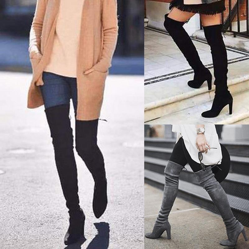 Vente-2019 Hot New femmes Plus de Bottes Chaussures lacées Femme Cuissardes Femme Automne Hiver Sexy bas bloc talon Chaussures Taille Plus
