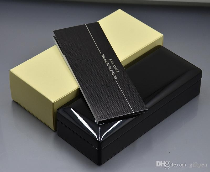 Luxo qualidade superior Black Wood Pen Box Brilhante Com papel manual Livro Papelaria Escritório de Negócios de suprimentos dom Pen Caso expresso de alta qualidade