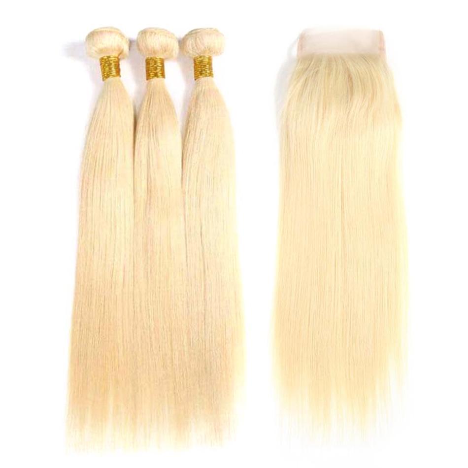 Saç Brezilyalı Remy saç Düz 3 Paketler ile Kapanış 613 Sarışın Renk Saç İnsan ile 4x4 Kapatma Ücretsiz Kargo