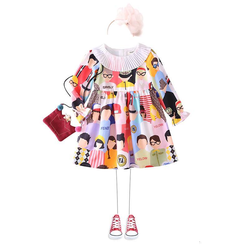 vestidos de telas pastorales vestidos de estilo de algodón y lino vestido de niña de manga larga del algodón puro de los niños de la princesa de la falda 0919