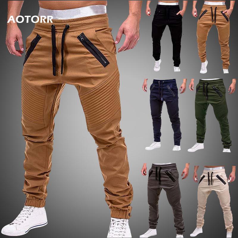 Herbst Cargo Pants Herren Neue 2019 beiläufiger dünner Jogger Jogginghose elastische lange Hose Pantalon homme Militärarmee Cargohose LY191205