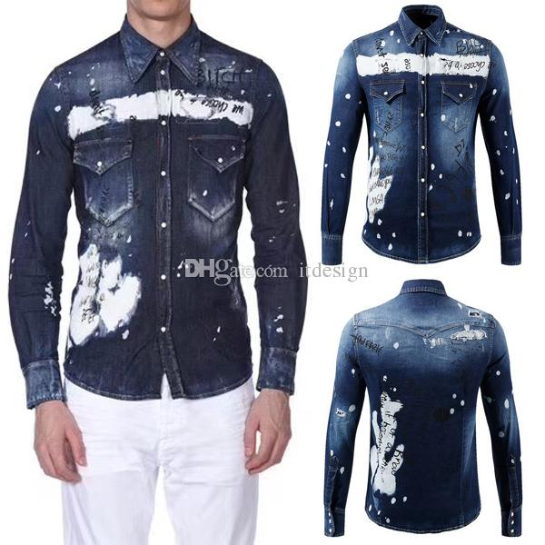 2019 Graffiti Painted Denim Shirt For Men Printed Letters Bleach Washed Distressed Longsleeves Shirts Cool Guy