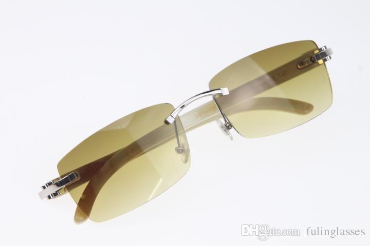 Großhandel Brille 8200758 Frau Männer Randlose Naturhorn Designer Heiße Original Sonnenbrille Weiße Unisex Sun Ho Rilkt
