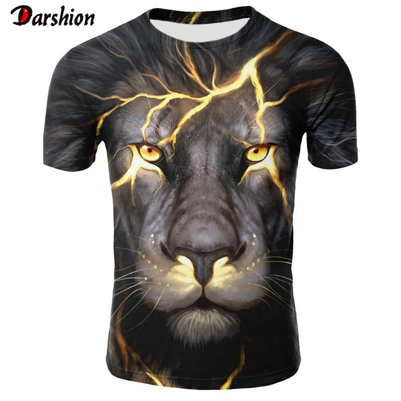 2019 새로운 3D t- 셔츠 동물 사자 셔츠 쿨 차원의 T 셔츠 남성 재미 T 셔츠 남성 의류 캐주얼 피트니스 TeeTop 펑크 티셔츠