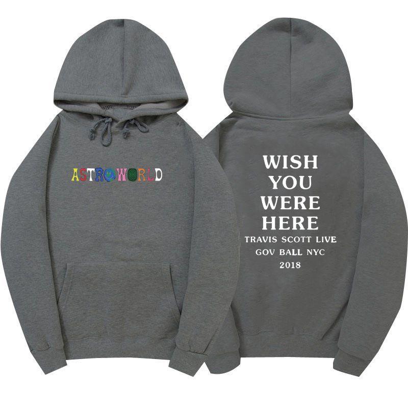 8579369ae1a9 2019 Astroworld Hoodie Travis Scott Wish You Were Here Sweatshirt Hip Hop  Sports Designer Hoodies Long Sleeve Embroid Girl Hoodies 2