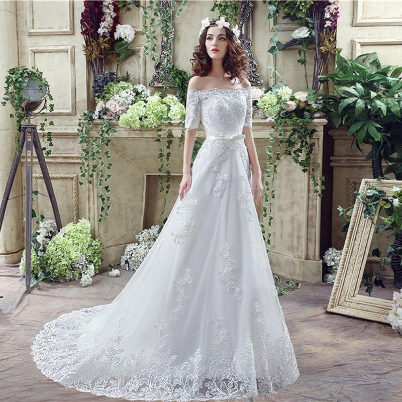 Elegante del hombro de la sirena vestidos de novia de Bohemia del cuello del barco La mitad de mangas de encaje apliques de tul largo de las mujeres vestidos de boda DH4205