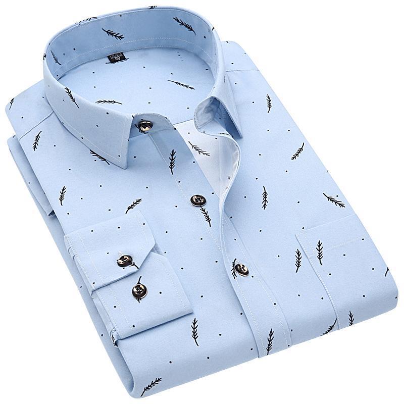Imprimer seul ressort boutonnage imprimé floral Hommes Chemises manches longues pour hommes Casual Shirt Slim Impression Chemises Camisa Masculina super
