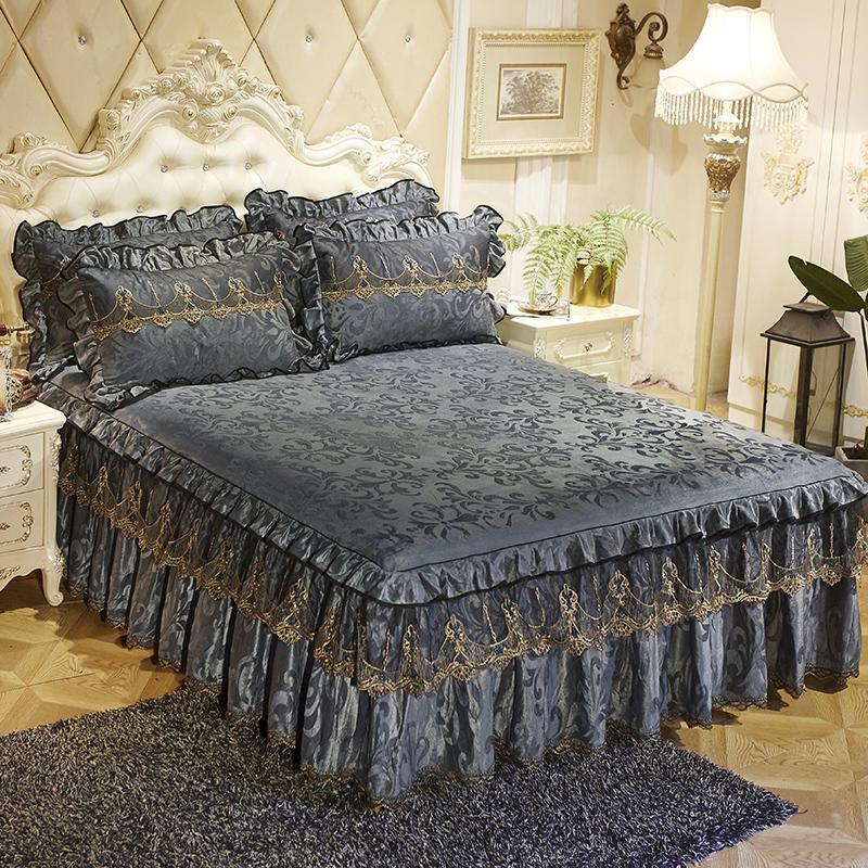 Dentelle grise lit couvre-lit jupe taie d'oreiller 3pcs / set velours épais girls filles lits drap festine mariage princesse literie maison décoration