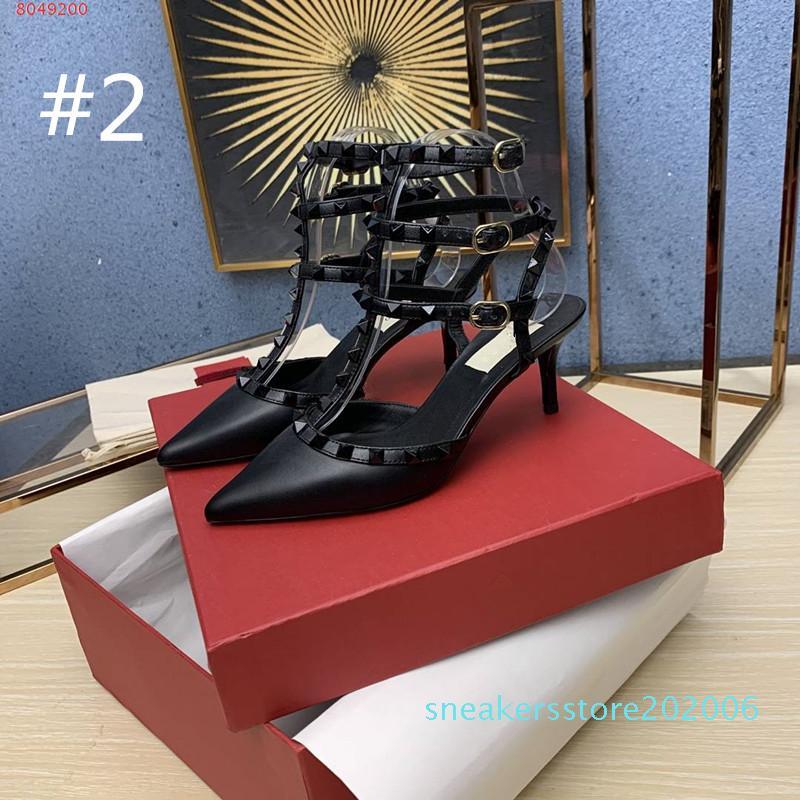 Femmes Goujons Designer Sandales à talons bas bride cheville Rivet pompe mis en cage 65MM qualité Beat 100% cuir véritable Bas rivets Sexy Party 01d S06