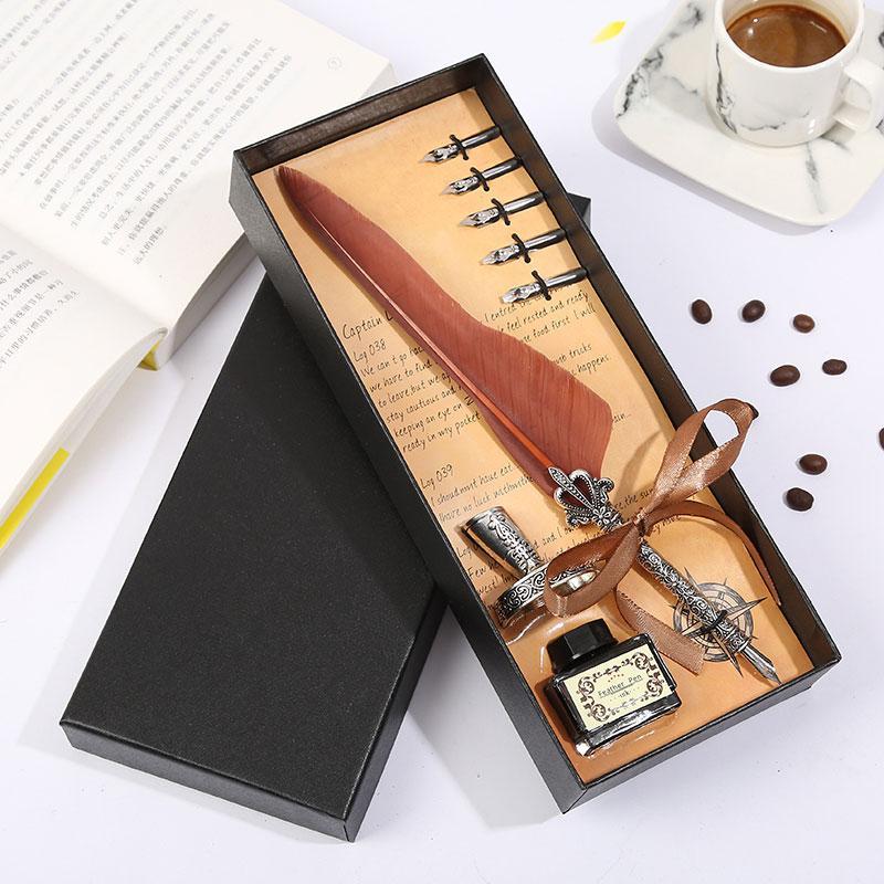 Природные перо Создание перо Pen Индивидуальный дизайн Европейский Канцелярский набор Мода Black Box Упаковка Написание Tool