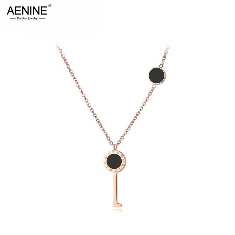 AENINE Trendy Forme clé Lettre romaine Colliers Pendentif pour les femmes de mariage en acier inoxydable Femme Collier avec pendentif Bijoux AN18044