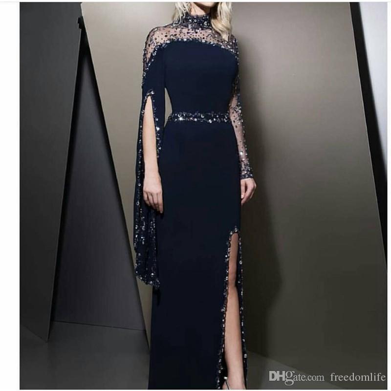 2019 Formal High Neck Navy Blue Evening Dresses kaftan dubai Beaded Long sleeve Party gowns Modest robe de soiree Split Prom Dress